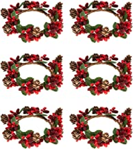 Alphatool Set of 6 Christmas Candle Ring- Red Artificial Berry Candle Rings with Pinecones Small Wreaths for Pillar Candle Rustic Wedding Centerpiece and Christmas Holiday Table Decoration (3 inch)