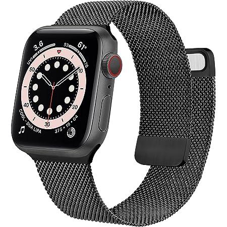 Wanme Correa Compatible con Apple Watch Correa 38mm 40mm 42mm 44mm, Pulsera de Repuesto de Metal de Acero Inoxidable para iWatch Series SE 6 5 4 3 2 1 (42mm/44mm Negro)