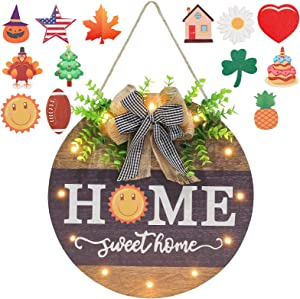 HOMCDALY Interchangeable Welcome Sign for Front Door with 13 Changeable Icons, Farmhouse Front Porch Decor Rustic Wooden Wall Sign with 12 LED Lights, Outdoor Seasonal Welcome Porch Decorations