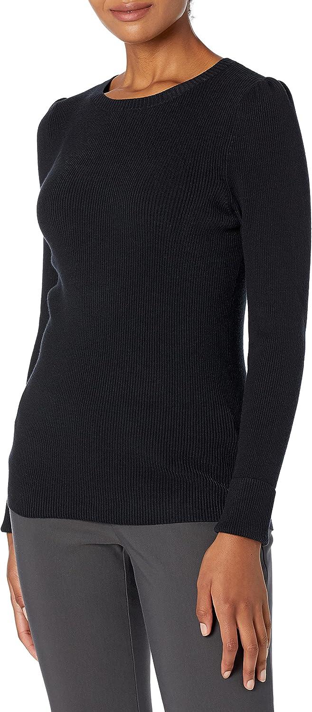 Amazon Brand - Lark & Ro Women's Slim Fit Ribbed Puff Sleeve Sweater