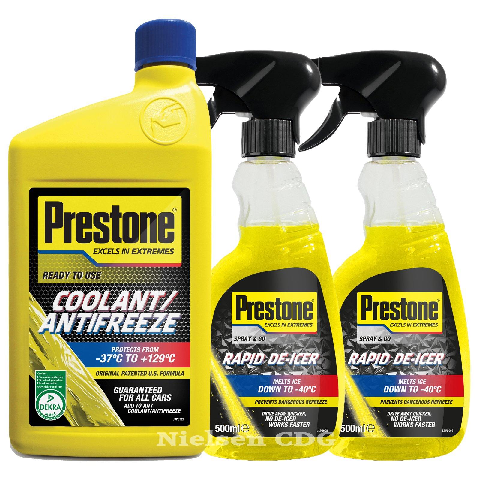 Prestone Líquido listo mezcla anticongelante refrigerante 1L + disparador de Prestone Líquido anticongelante 500 ml X2: Amazon.es: Coche y moto