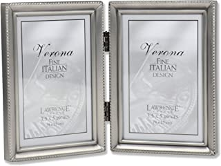 Lawrence Frames Antique  Pewter Hinged Double 3.5x5 Picture Frame - Beaded Edge Design