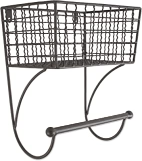 Home Traditions Z02226 Rustic Metal Wall Mount Shelf with Towel Bar, Small, Gray