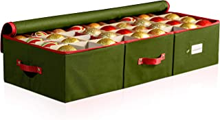 ZOBER Underbed Christmas Ornament Storage Box with Zippered Closure - Stores up to 72 Standard Christmas Ornaments 4 - Inch, and Xmas Holiday Accessories, Storage Container with Dividers