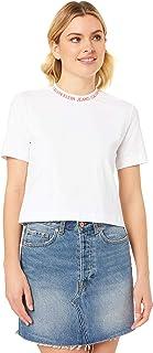 Calvin Klein Jeans Women's Neck Logo Modern Straight Crop Tee, Bright White/Hot Coral, M