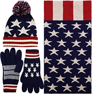 Women's Adult USA American Flag Star Print Knitted Hat Beanie Scarf Gloves Set
