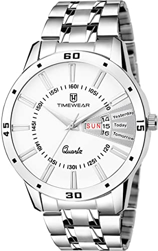 TIMEWEAR Analog Day Date Functioning Stainless Steel Strap Watch For Men