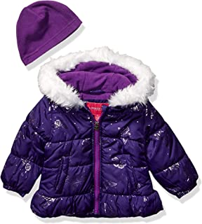 Girls' Quilted Puffer Jacket with Fleece Hat