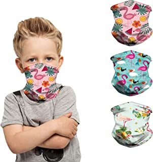 [3 Pack] Kids Neck Gaiter Reusable Breathable Scarf Face Cover Bandana Balaclava for 4-12 Years Boys Girls-2