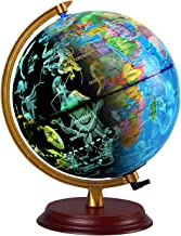 TTKTK Illuminated World Globe with Wooden Base - Night View Stars Constellation Pattern Globe with Detailed World Map,Built-in LED Bulb, No Battery Required, Educational Gift, Night Stand Decor