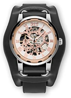 Skeleton Men's Vintage Mechanical 40mm Wrist Watch Rose Gold Black Leather Steampunk Stainless Steel Lovers Family