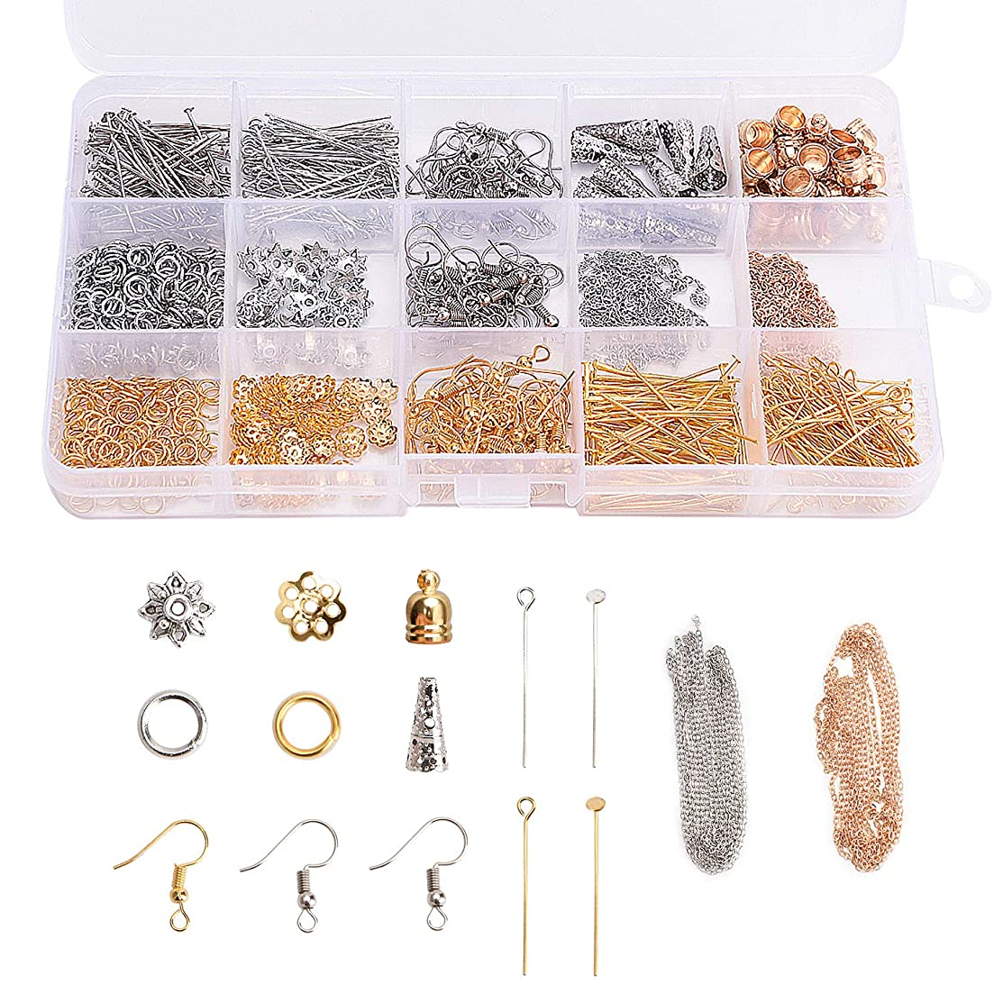 850PCS 14 Styles Jewelry Findings Components for Earrings Making, Earring Hooks, Head Pins, Eye Pins, Cones, Jump Rings, Bead Caps, Chains for Jewelry Designers DIY Handmade Crafts