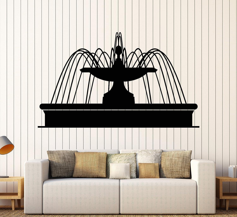 Vinyl Wall Decal Fountain Park Water Garden Design Rooms Stickers Large Decor (949ig) Matte Black