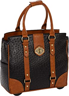 JKM and Company A-List Ostrich Computer iPad, Laptop Tablet Rolling Tote Bag Briefcase Carryall Bag (17