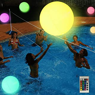 Large swimming pool float and LED illuminated beach ball with remote control-16 color lights and 4 light modes | Ideal for...