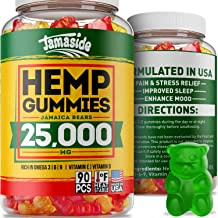 Hemp Gummies 25000 MG - Made in USA - 277 MG Hemp in Each Gummy - Premium Hemp Extract - CO2 Extraction - Omega 3, 6, 9 - Anxiety & Stress Relief - Sleep & Mood Improvement