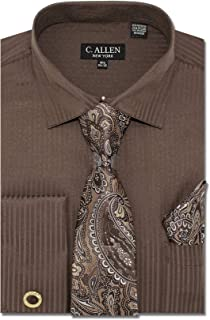 Men's Solid Striped Pattern Regular Fit Dress Shirts with Tie and Hanky Cufflinks Combo French Cuffs