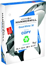 Hammermill Paper, Great White 30% Recycled Printer Paper, 8.5 x 11 Paper, 3 Hole Punch, 20lb, 92 Bright, 1 Ream / 500 Sheets (086702C) Acid Free Paper