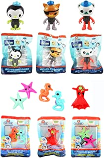 Octonauts Fisher Price Articulated 8cm Glow in The Dark Octo Suit Figures Captain Barnacles, Kwazi & Peso & 3 Sea Creature...