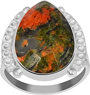 Orchid Jewelry 9.50 Ctw 18X13mm Pear Red & Green Unakite Ring For Women| 925 Sterling Silver Anniversary Ring For Girls | ...