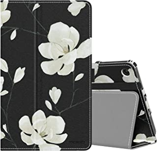 MoKo Case Fits All-New Amazon Kindle Fire 7 Tablet (9th Generation, 2019 Release), Slim Folding Stand Smart Shell Multiple Viewing Angles Cover with Auto Wake/Sleep - Black & White Magnolia