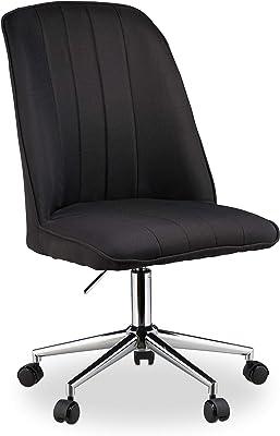 Relaxdays, 96 x 53 x 58 cm, Negro Oficina, Silla giratoria, Altura Ajustable, 100 kg, Diseño Elegante, Tela-Metal-Plástico