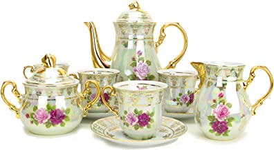 Euro Porcelain 17-pc Vintage Pink & Red Roses Tea Cup Coffee Set, White Pearlescent Floral Pattern 24K Gold Plated, Complete Service for 6 - Original Czech Tableware