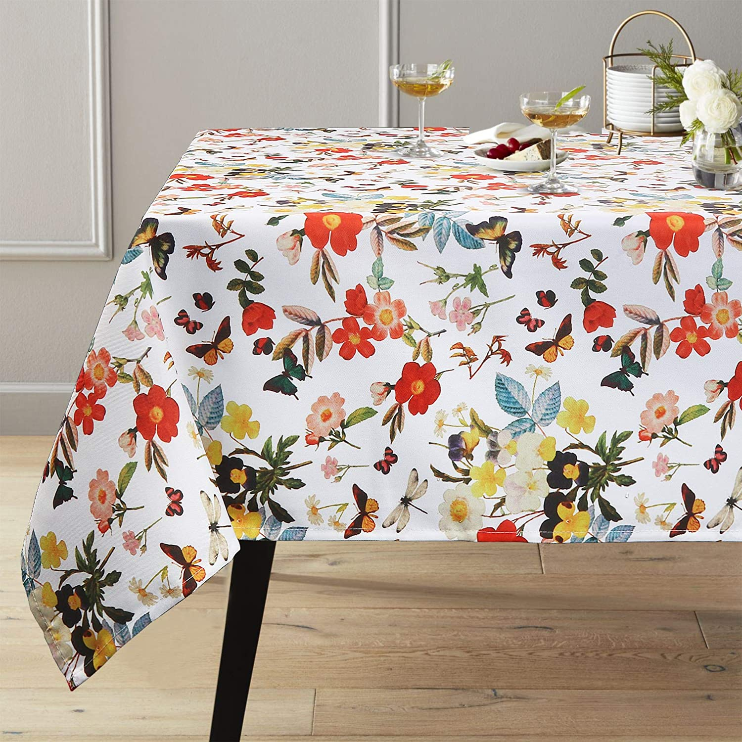 ColorBird Spring Bloom Tablecloth with Botanical Print - Water Resistant Spillproof Polyester Fabric Table Cover for Kitchen Dinning Tabletop Decoration, Rectangle/Oblong, 60 x 102 Inch