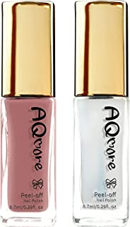 AQMORE Premium Water Based Nail Polish - Pure Minerals, Ultra Long Lasting, Easy Peel Off, Fast Drying, Gel Manicures Like, Non Toxic, Lab Tested (Sakura & Top Coat Set)