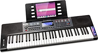RockJam, RJ461 61-Key Portable Electric Keyboard Power Supply, Sheet Music Stand and Pitch Bend, Piano