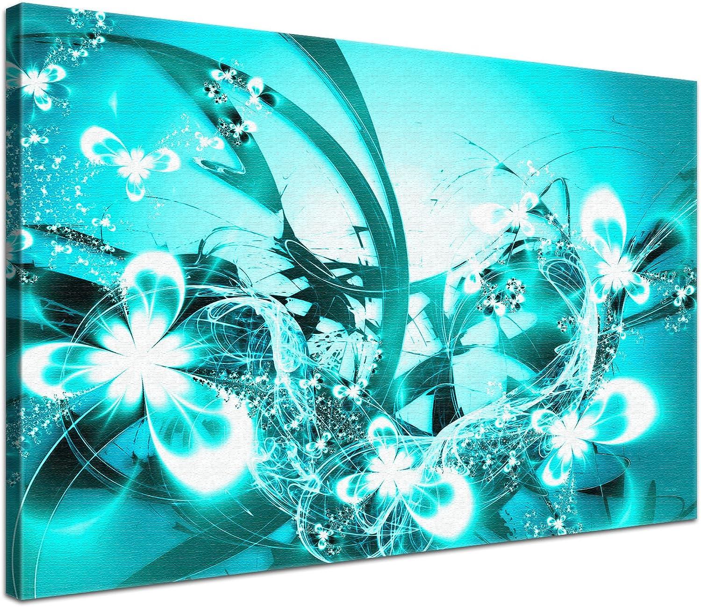 LANA KK - Blüten Graf Türkis - edel Leinwand Bild Kunstdruck auf Keilrahmen, fertig gerahmt in 100x70 cm, einteilig B00IYLV4SY
