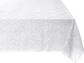 """Violet Linen Stars Crochet Vintage Lace Design Oblong/Rectangle Tablecloth, 60"""" X 120"""", White"""