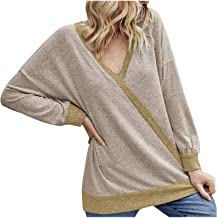 $20 » Letdown Accessories Sexy V Neck Sweatshirts for Women Knit Sweater Off Shoulder Pullover Jumper Solid Color Casual Loose Tops