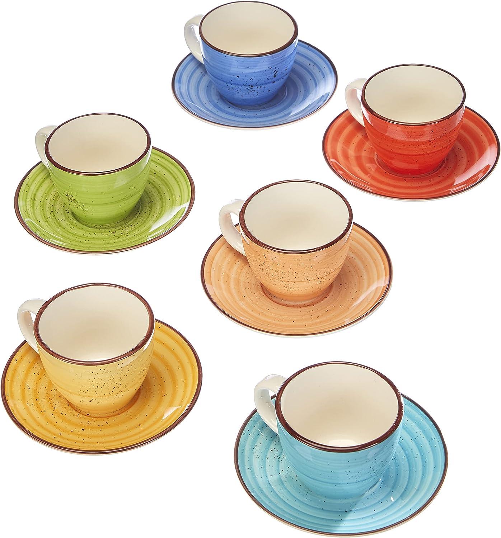 Tognana LS18534M043 Art & Pepper - Juego de 6 tazas de café con plato, 6 cm