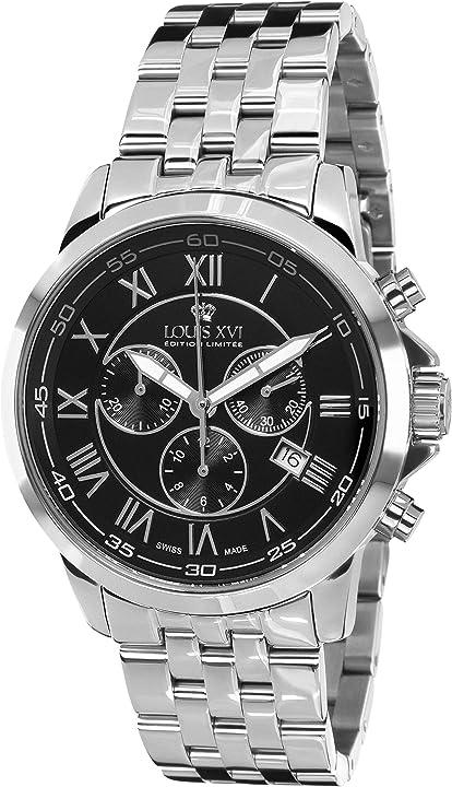 Orologio da polso da uomo aramis, cinturino in acciaio, colore argento e nero, louis xvi 804