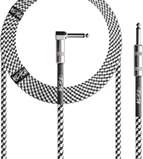 "Mophead 15 Foot Double Insulated and Road Ready Braided 1/4"" TS to 1/4"" TS Guitar and Bass Instrument Cable Right Angle Bl..."