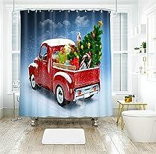 AMDXD Shower Curtain Decorative 60x72Inch (150x180CM), Truck Christmas Tree Bathroom Shower Curtain 3D, Bathroom Decor wit...
