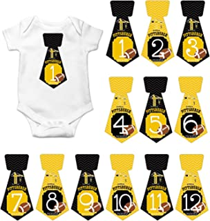 Gift Set of 12 Tie Keepsake Photography Monthly Baby Stickers with Pittsburgh Steelers Football T065