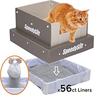SpeedySift Cat Litter Box with Improved Sifting Liners, Cats' Favorite Box-Like PP Plastic High Sides, Large