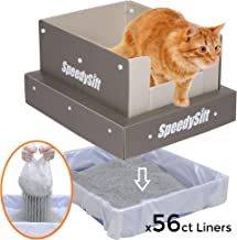 SpeedySift Mess-Free Cat Litter Box with Improved Sifting Liners, Cats' Favorite Box-Like (100% Plastic) High Sides, Large