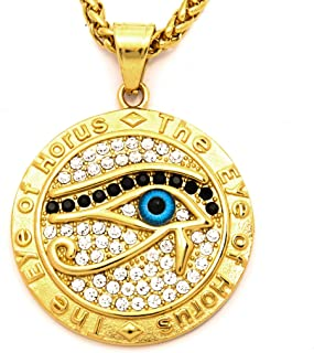 Warvik Egypt Eye Horus CZ Stone Tag Pendant Ancient Letter Necklace Gold Color, Stainless Steel Jewelry Men Women Wheat Ch...