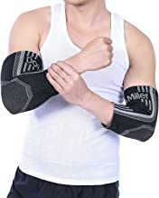Doc Miller Elbow Brace Compression - Sleeve (Pair) Elastic Support Treatment for Tennis Elbow Golfers Weightlifting Tendonitis Softball Forearm Arm Pain Relief Recovery Men Women Youth