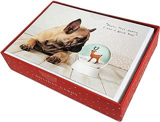 Tell Santa I Was a Good Boy French Bulldog & Snow Globe Box of 15 Christmas Holiday Greeting Cards & Envelopes