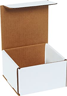 Boxes Fast BFM553 Corrugated Cardboard Mailers, 5 x 5 x 3 Inches, Tuck Top One-Piece, Die-Cut Shipping Cartons, Small White Mailing Boxes (Pack of 50)