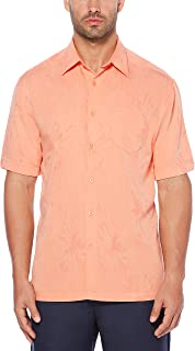 Cubavera Men's Short Sleeve Polyester L-Shape Embroidered Button-Down Shirt