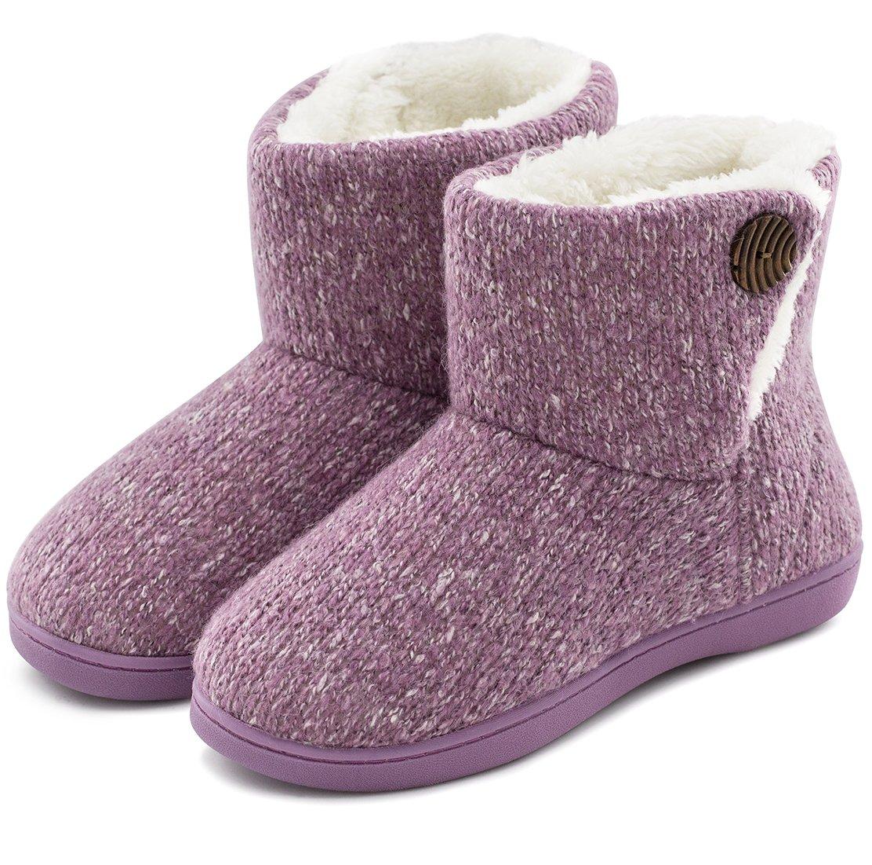 Image of Fleece Lined Woven Yarn Knit Ankle Bootie Slippers for Women