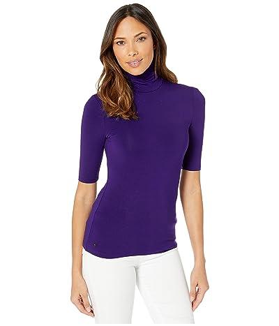 LAUREN Ralph Lauren Stretch Turtleneck Top (Royal Purple) Women