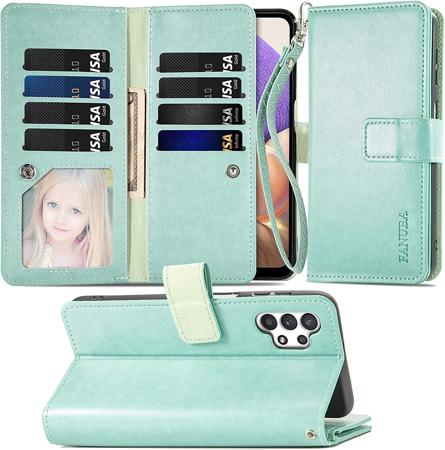FANUBA for Galaxy A32 5G Wallet Phone Case,Soft PU Leather Magnetic Buttons Wrist Strap Card Holders Shockproof Kickstand Protective [Flip Folio Cover] for Samsung Galaxy A32 5G - Green