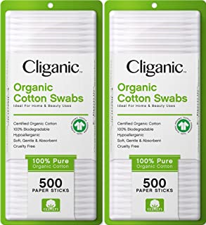 Cliganic Organic Cotton Swabs, 1000 Count - 100% Pure Natural Biodegradable Cotton, Chlorine-Free Hypoallergenic, Soft, Ge...
