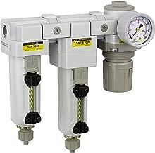 PneumaticPlus SAU3030M-N03G-MEP Three Stage Air Drying System - Air Particulate Filter, 0.3 Micron Coalescing Filter & Air Pressure Regulator Modular Combo 3/8